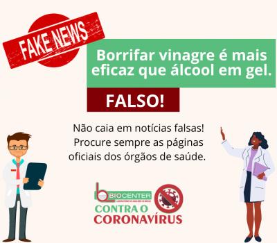 É FAKE : É falso que vinagre é mais eficiente que álcool gel na proteção contra o novo coronavírus!